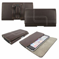 Real Genuine Leather Holster Belt Loop Magnetic Flip Case Cover For Mobile Phone