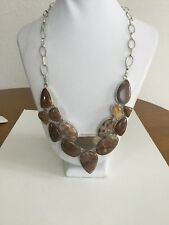 Sterling Silver 925 Brown Citrine Gemstone Necklace New