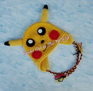 Pokemon  Pikachu Crochet baby Hat photo prop baby shower gift newborn toddler