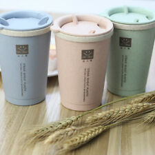Portable Double-Wall Wheat Straw Water Bottle Coffee Cup Travel Mug Drinkware