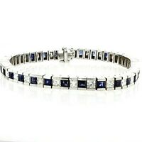 10CT Blue Sapphire Channel Set Mens Diamond Bracelet 14K White Gold Over 8""