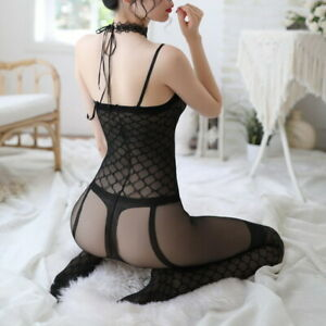 Women Transparent Body Stockings Solid Sling Squares  Tights Underwear 61061