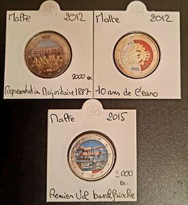 Pièces 2 Euro Commémorative COULEUR : Malte 2012 ( X2 ) - 2015.