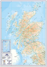 Compact Flat Scotland Paper Wall Map - A1 Size - Standard Paper Unlaminated
