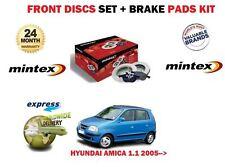 FOR HYUNDAI AMICA 1.1 05-> MINTEX FRONT VENTED BRAKE DISCS SET AND DISC PADS KIT