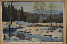 1950'S OIL PAINTING by RONALD DAVIES OF MT. TREMBLANT PARK  MONTREAL QUEBEC