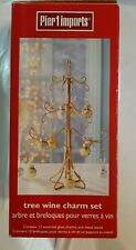 Pier 1-Tree Wine Charm Set with gold metal Christmas tree Stand~12 ornaments