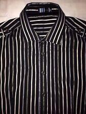 Toku Men`s XXL Black W/White & Gray Stripes Long Sleeve Button Down Shirt