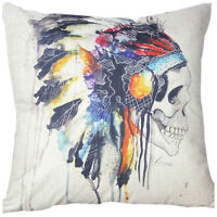 Indian Skull Cotton Throw Pillow Case Cushion Cover LW