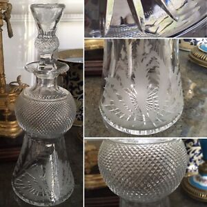 EDINBURGH Crystal ENGRAVED THISTLE WHISKY Round GLASS DECANTER SIGNED HOBNAIL🎁