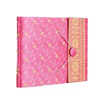 Pink Sari Fabric Cover Photo Album, 30 Pages to fit 120 6x4 or 60 7x5 Photos