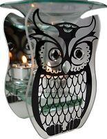 Owl Mirrored Silver Glass Tea Light Candle Holder And Oil Burner Tart Ornament