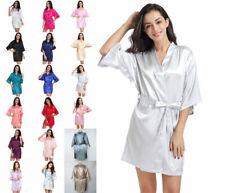 Solid Brides Robe Kimono Wedding Silk Satin Dressing Gown Sleepwear Bathrobe