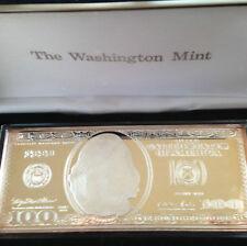 1999 Washington Mint $100. Federal Reserve Note Silver Art Bar P2334