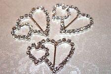 2 Diamante Double Heart Buckles / Ribbon Sliders