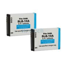 2X SLB-10A 3.7V Rechargeable Li-ion Battery for Samsung L100 L200 L210 Q7GH