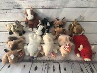 New Lot of 10 Beanie Babies- Farm Animals- Snort Ewey Bessy Derby Goatee Fleece