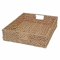 Wicker Tray Basket Shallow Storage Kitchen Dining Natural Water Hyacinth
