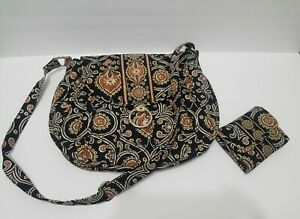 Vera Bradley CAFFE LATTE Saddle Up Large Crossbody Bag With Compact Wallet