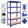 RayonnageT-Rax bleu en acier robuste à 5 niveaux Garage Stockage Rangement