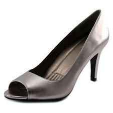 Easyspirit Keimi Women's Silver Pewter Leather High Heel Peep Toe Pumps US 10.5W