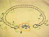LOT OF 2 PIECES DOILIES PANSEY EMBROIDERY WITH LACE EDGES