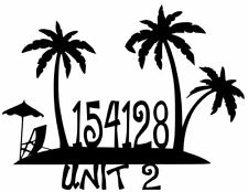 House Number Plaque, Metal Sign, Condo, Address Sign, Beach #4