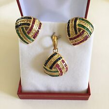 Matching Rubies, Sappphires, Emerald Earrings & Pendant in 14K Yellow Gold - O19