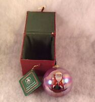 Christmas House Hand Painted Glass Santa Ornament in Original Cloth Covered Box