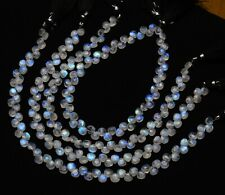 """Rainbow Moonstone Natural Gemstone 6mm Size Faceted Heart Briolette Beads 10"""""""