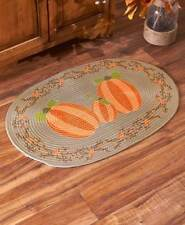 Pumpkin Patch Oval Braided Accent Rug 20 x 30 Thanksgiving Country Carpet Floor