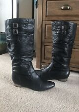 STEVE MADDEN Branddy Black Leather Knee High Boots Size 8.5 M