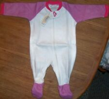 Footed Pajama White Pink Sporty Sleeper Baby Girl size 3/6 month New