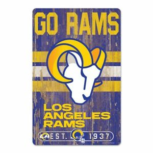 """LOS ANGELES RAMS GO RAMS EST. 1937 WOOD SIGN 11""""X17'' NEW WINCRAFT 😎🔥"""
