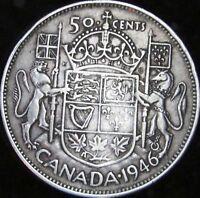 1946 Wide Date VF Details Dinged Canada Silver 50 Cents (Half) - KM# 36 - JG