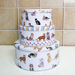 Cake Storage Tins Set 3 Round Nesting Airtight Baking Kitchen Gift Food Sweet CT