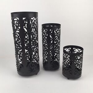 At Home America Metal Scroll Pillar Candle Holder Set Upscale Rustic Farmhouse