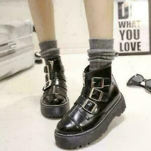 Women's Gothic Platform Zipper Buckle Ankle Boots Round Toe Creeper Shoes US 8