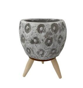 Rustic White Grey Wash Concrete Plant Pot Indoor Planter Flower Succulent Holder
