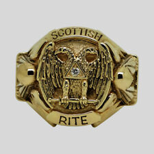 Scottish Rite Masonic Ring 14K Gold Diamond Knights Templar Size by UNIQABLE