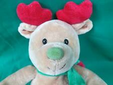 Carter'S Prestige My First Christmas Reindeer Plush Brown Red Green Candy Cane