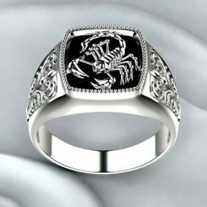 Fashion Scorpion 925 Silver Rings for Men Party Rings Jewelry Size 11