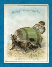 SWEET VICTORIAN NEW YEAR CARD CAT & MONKEY WITH BARREL