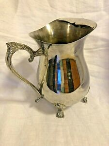 """Vtg A1 Silver Plated Water Pitcher 3 Legs, Leaf Handle, Ice Stopper About 8.5"""""""