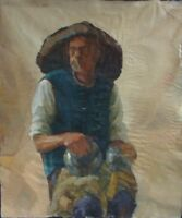 ORIGINAL CANVAS OIL UKRAINE IMPRESSIONISM PAINTING PORTRAIT MAN OLD
