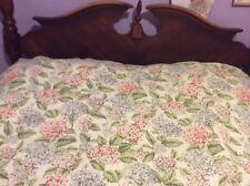 Martha Stewart Cotton Bedspread Coverlet Quilt  Green Floral Full/Queen