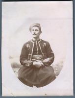 Algérie, J.B. en Zouave  Vintage citrate print. Photo J. Bougrier Série des ph