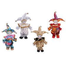 4pcs Porcelain Doll Collections Italian Triangel Doll Clown Model Home Decor