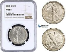 AA276-R United States, Walking Liberty Half Dollar (50C) 1918-S, Silver NGC AU58