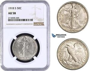 AA276-R United States, Walking Liberty Half Dollar (50C) 1918-S, Silver NGC AU58